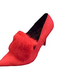 Women's Heels Fall Winter Comfort PU Casual Low Heel Black Red Other