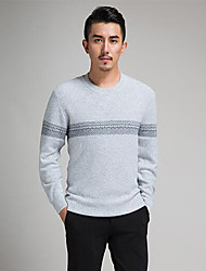 Men's Casual/Daily Simple Short Pullover,Striped / Jacquard Blue / Beige / Gray Round Neck Long Sleeve Polyester Fall Medium Micro-elastic