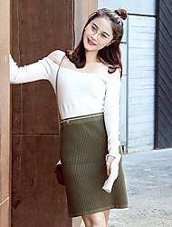 Damen Röcke,Bodycon einfarbig Gefaltet,Ausgehen / Lässig/Alltäglich Sexy / Street Schick Mittlere Hüfthöhe Knielänge Elastizität Wolle
