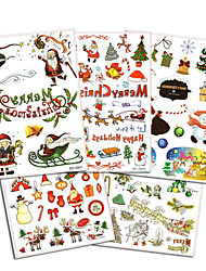 5Pcs Style/lot Christmas Tattoo Colorful Party Sticker Men Women Kids Temporary Tattoo