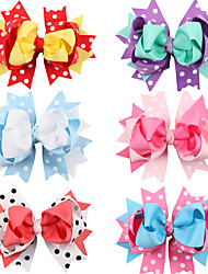 6Pcs/set Baby Girls Hair Bow Hair Clips Todder Hair Accessories Infant Hairband