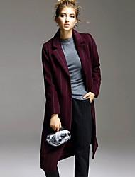 Женский На каждый день Полоски Пальто Лацкан с тупым углом,Простое Зима Красный / Серый Длинный рукав,Другое