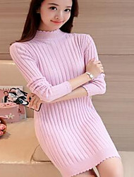 Women's Casual/Daily Simple Long Pullover,Solid Pink / Red / White / Black / Gray Turtleneck Long Sleeve Spandex Fall / Winter Thick