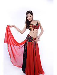 Belly Dance Outfits Women's Performance Chiffon Polyester Beading Crystals/Rhinestones 3 Pieces Sleeveless Dropped Skirt Bra Hip Scarf