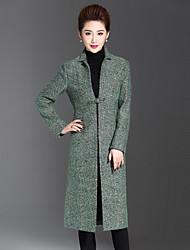 Feminino Casaco Casual / Tamanhos Grandes Simples Inverno,Sólido Verde Lã / Acrílico / Poliéster / Outros Colarinho de Camisa-Manga Longa
