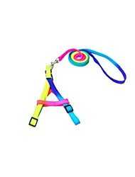 Dog Leash Adjustable/Retractable Rainbow Nylon Yellow Blushing Pink Rainbow