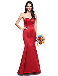2017 Lanting Bride® Floor-length Satin Bridesmaid Dress - Open Back / Elegant Trumpet / Mermaid Sweetheart with Side Draping