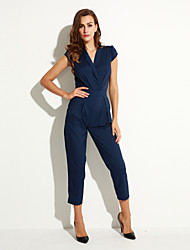 Women's Solid Blue / Black Jumpsuits , Vintage / Casual / Day V Neck Short Sleeve