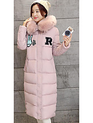 Sign Winter new Korean Women Slim Down in the long section thick padded coat fur collar coat 688