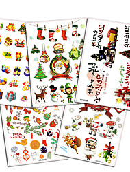 5Pcs Style/lot Christmas Temporary Tattoo Paster Kids  Santa Lovely Reindeer Bowknot Deer Xmas Present Gift
