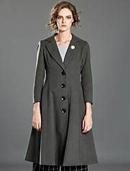 INPLUS LADY Women's Casual/Daily Vintage CoatSolid Notch Lapel Long Sleeve Winter Gray Cotton / Polyester Medium
