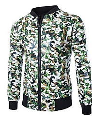 Men's Casual/Daily / Sports Active / Punk & Gothic Jackets,Leopard Stand Long Sleeve Fall / Winter Black / Green / Yellow Calfskin Medium