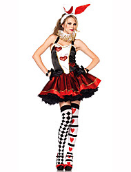 Queen Fairytale Festival/Holiday Halloween Costumes Red White Black Solid Dress Gloves HeadwearHalloween Christmas Carnival Children's