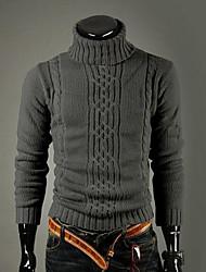 Для мужчин На каждый день Винтаж Простое Обычный Пуловер Однотонный,Хомут Длинный рукав Шерсть Зима Толстая Эластичная