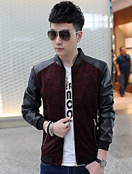 Men's Casual/Daily Simple Leather Jackets,Print Long Sleeve Blue / Red / Yellow Polyester
