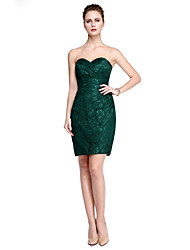 Sheath / Column Strapless Knee Length Chiffon Lace Cocktail Party Prom Dress with Draping Lace Side Draping by TS Couture®