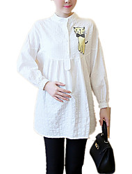 Maternity Casual/Daily Simple Print / Jacquard Crew Neck Long Sleeve White Cotton Shirt