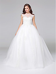 Ball Gown Wedding Dress - Elegant & Luxurious Open Back Court Train Bateau Tulle with Appliques Button