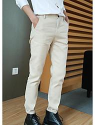 Masculino Solto Chinos Calças-Cor Única Casual Simples Cintura Média Zíper Algodão Micro-Elástico All Seasons