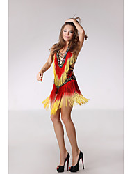 RobesPolyester / PaillétéFemme Paillettes / Frange (s) Spectacle Danse latine Taille haute