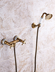 Antique Tub And Shower Handshower Included with Ceramic Valve Two Handles Two Holes for Antique Brass  Shower Faucet / Bathtub Faucet