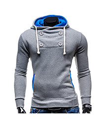 Men's Casual/Daily Active Hoodie Solid Micro-elastic Cotton Long Sleeve Spring Fall
