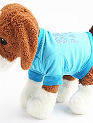 Cães Camiseta Azul Roupas para Cães Verão Carta e Número Casual