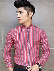 Men's Going out / Work / Beach Sexy / Cute / Chinoiserie Fall Shirt,Striped Peter Pan Collar Long Sleeve Blue / Gray / Multi-color Cotton