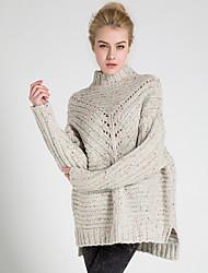 Damen Lang Pullover-Lässig/Alltäglich Übergröße Einfach Solide Beige Braun Ständer Langarm Polyester Frühling Herbst Mittel