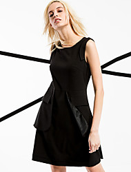 Women's Going out / Casual/Daily / Formal Street chic A Line Dress,Solid Round Neck Above Knee Sleeveless Black Polyester Spring / Summer