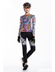 Calça com Camisa para Ciclismo Mulheres Manga Longa Moto Roupas de Compressão Meia-calça Secagem Rápida Zíper Frontal Vestível Alta
