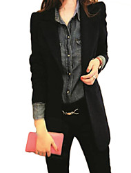 Women's Casual/Daily Simple Jackets,Solid Shawl Lapel Long Sleeve Fall / Winter Blue / Red / Black Polyester