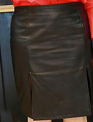 Damen Übergrössen Röcke,Bodycon einfarbigLässig/Alltäglich Hohe Hüfthöhe Über dem Knie Elastizität PU Micro-elastisch Riemengurte / Sommer