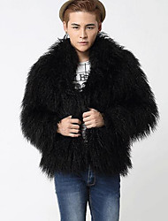 Men's Going out Simple Fur Coat,Solid Shirt Collar Long Sleeve Fall / Winter Black Faux Fur Medium