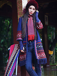 Our Story Women's Casual/Daily Boho CoatPrint V Neck  Sleeve Winter Blue Wool / Polyester