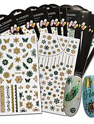 Green Gold 1 Sheets 3d Fashion Styles Glitter Beauty Nail Sticker Nail Art Decorations Adhesive Snow Flower Decals MD401-410G