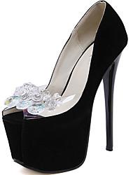Черный-Женский-Свадьба-Замша-На шпильке На платформе-На платформе Удобная обувь-Обувь на каблуках