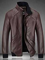 Men's Going out Simple Winter Leather Jacket,Solid Long Sleeve Regular