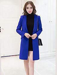 Damen Solide Street Schick / Anspruchsvoll Ausgehen / Party/Cocktail Trenchcoat,Alle Saisons Hemdkragen Langarm Blau / Rot / Schwarz