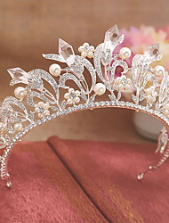 Women's Platinum Imitation Pearl Rhinestone Headpiece-Wedding Special Occasion Tiaras 1 Piece