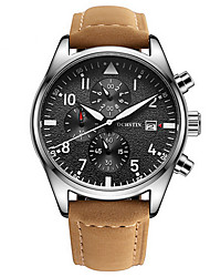 Men's Dress Watch Calendar Chronograph Water Resistant / Water Proof Quartz Genuine Leather Band Casual Luxury Black Brown