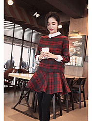 Women's Going out / Casual/Daily Simple / Street chic Trumpet/Mermaid Dress,Check Shirt Collar Above Knee Long Sleeve Red Polyester Winter