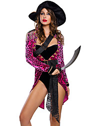Cosplay Costumes Party Costume Masquerade Pirate Career Costumes Festival/Holiday Halloween Costumes Fuschia & Black LeopardCoat