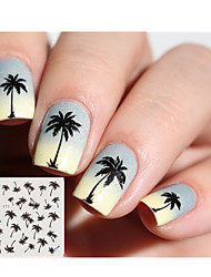 2pcs Coconut Tree Nail Art Sticker Water Transfer Decals