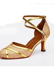 Customizable Women's Dance Shoes Leather Sparkling Glitter Synthetic Leather Sparkling Glitter Synthetic Latin Heels Customized Heel