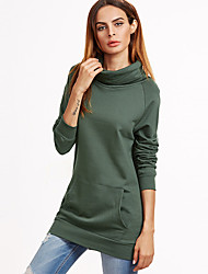 Women's Casual Going out Simple Sweatshirt Solid Turtleneck Long Sleeve