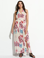 Damen Kleid-Hülle Sexy / Boho Druck Maxi Polyester Tiefes V