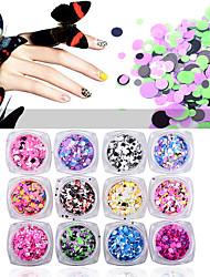 1set красочный круглый ультратонкий блестки для ногтей блестит сочетание размеров шарм