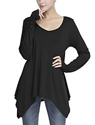 Tee-shirt Femme,Couleur Pleine Sortie / Décontracté / Quotidien simple / Chic de Rue Printemps / Automne Manches Longues Col en VNoir /