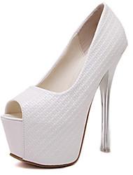 Women's Sandals Summer PU Casual Stiletto Heel White Black Blushing Pink